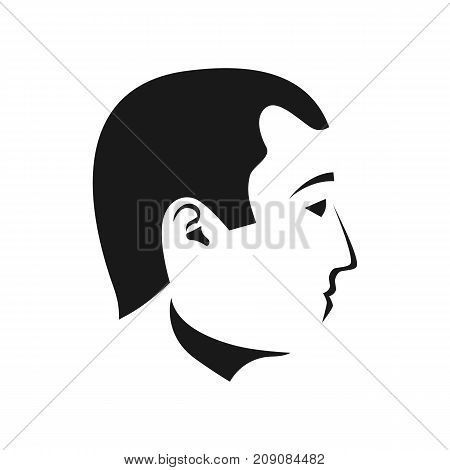 Man faces profiles. Black silhouette human. Vector illustration flat design. Isolated on white background. Pictogram portrait of beautiful male. Outline head side view.