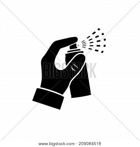 Spray in hand silhouette. Spray bottle pictogram. Canister hold human. Vector illustration flat design. Isolated on white background. Template for different gases, mixture, liquid. Aerosol can.