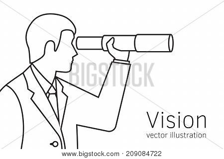 Vision business concept. Businessman looking in telescope seeing future. Vector illustration flat line minimal design. Isolated on background. Spyglass in hand. Search solution. Forward-looking person