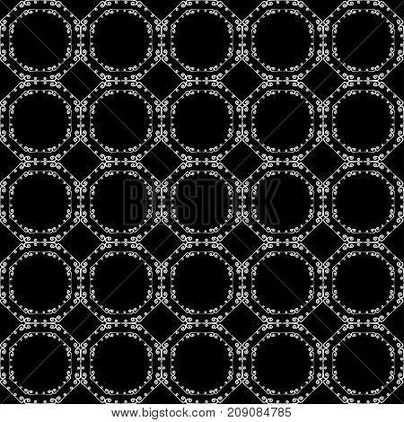 Ornamental seamless pattern. Black and white colors.  Endless template for wall paper textile wrapping print interior floor fabric. Abstract texture. Traditional ethnic ornament for design.