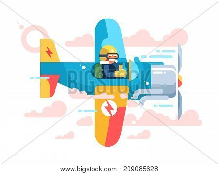 Pilot flying on airplane on air show. Color aircraft travel cartoon, transportation fly aviator. Vector illustration