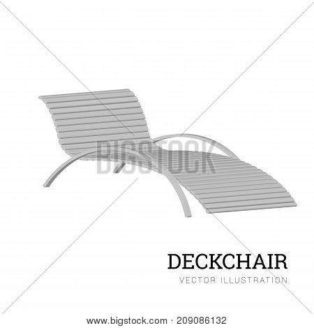 Sun lounger vector isolated on white background. Wooden chair. Vector illustration for your design
