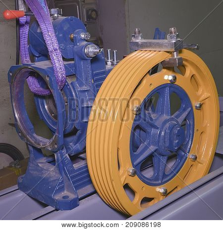 Pulley wheel . Reconstruction of industry lift. Closeup.