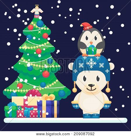 Decorated Christmas Tree And Gifts. Cute Polar Bear And Little Funny Penguin Vector Colorful Illustr
