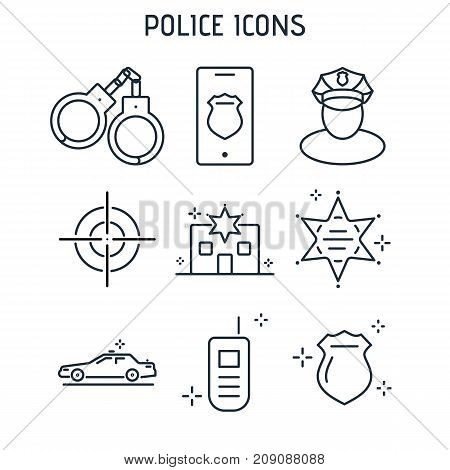 Set Of Police Linear Icons.