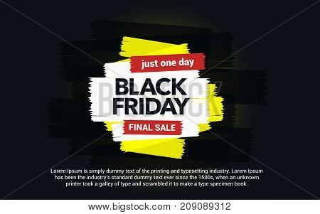 Black Friday sale inscription. Abstract ink blots on a black background. Brush strokes. Great discounts. Black Friday template for your banner or poster. Sale and discount. Vector illustration