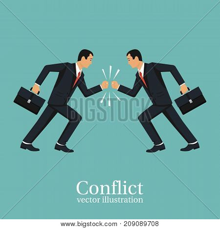 Business conflict concept. Disagreements of people. Two businessmen collided in battle. Debate people. Disagreement confrontation. Vector illustration flat design. Isolated on white background. poster