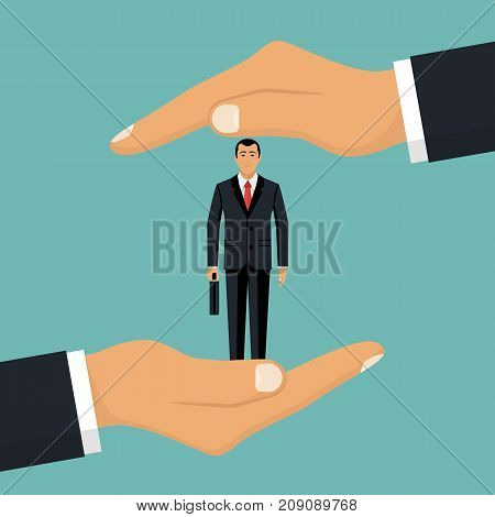 Businessman in hands palm holds client. Customer retention concept. Customer Care. Providing save customer loyalty. Vector illustration flat design. Isolated on white background.
