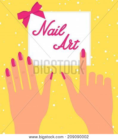 Woman hand with pink fingernails on silver background. Gift certificate for nail salon poster