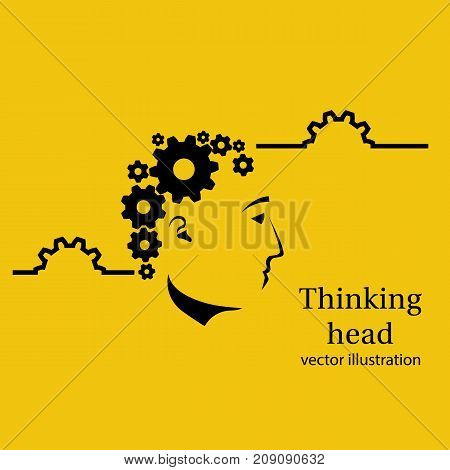 Thinking head. Concept works head. Vector illustration flat design. Isolated on white background. Gears brains. Face profile. Problem solving. Creativity mind.