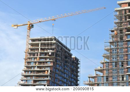 modern building in the town under construction