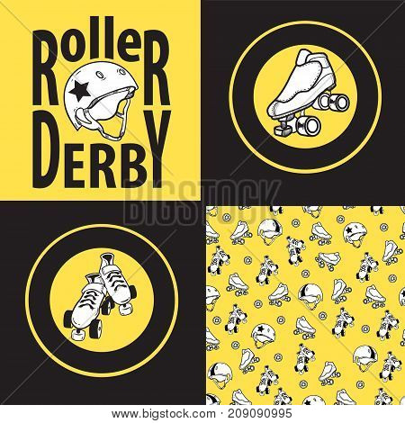 Set of drawings and seamless patterns on the theme of roller derby and roller skating with roller skates, quads, helmet on yellow background