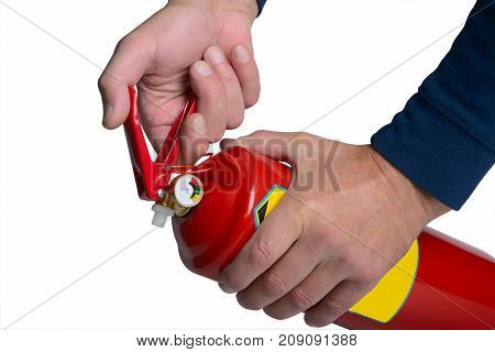 Male hands hold a fire extinguisher by pressing the trigger fire extinguisher. Isolated on white.