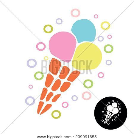 Ice Cream icon. Ice cream cone vector style doodle.