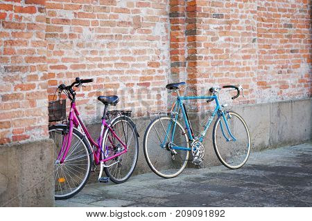 Montagnana Italy - August 6 2017: The bicycle is parked on the streets of the city