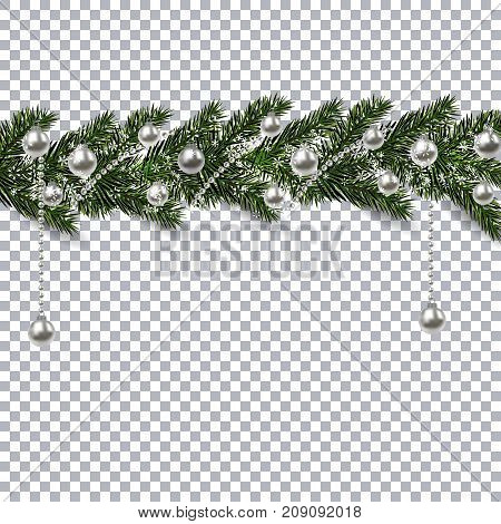 Christmas ornament from the green branches of a fir tree with a shadow and snowflakes. silver balls and beads on the background checkers. Vector illustration