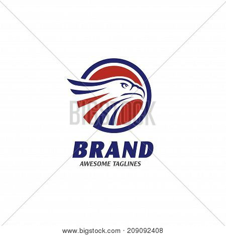 eagle heads with circle logo, creative falcon head logotype with ellipse, eagle head illustration