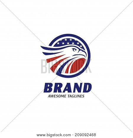 eagle heads circle with stars logo,eagle heads with circle logo, creative falcon head logotype with ellipse, eagle head illustration