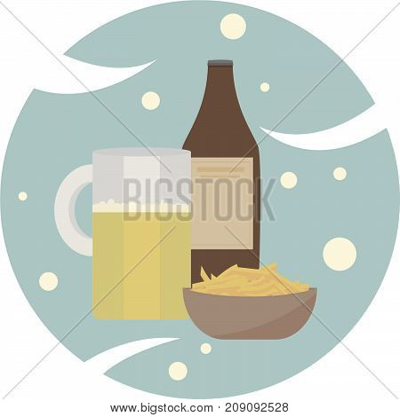 a bottle logo of a glass of beer and French fries