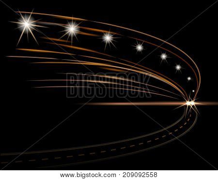 Abstract light effects. Car headlight. Road, street expressway Vector illustration