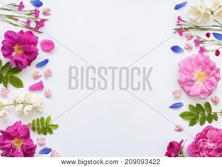 Romantic Flower Flat Lay Witj Emty Spase