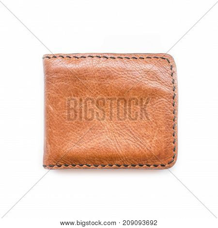 Close up brown wallet on white background