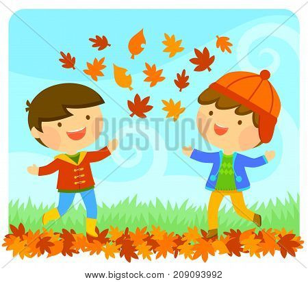 Cute little kids playing with autumn leaves