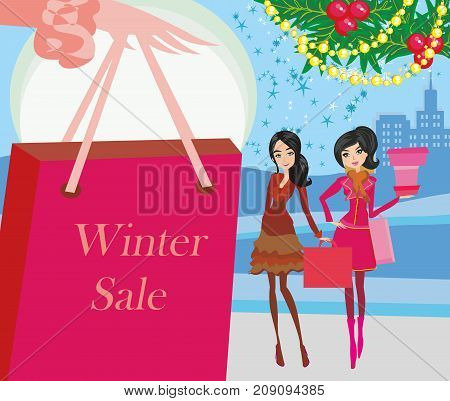 women friends on winter shopping card , vector illustration
