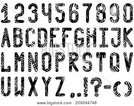 Font Made Of Palm Leaves