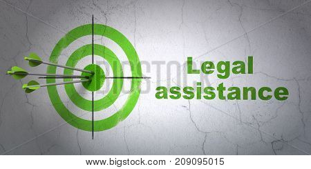 Success law concept: arrows hitting the center of target, Green Legal Assistance on wall background, 3D rendering