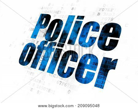 Law concept: Pixelated blue text Police Officer on Digital background