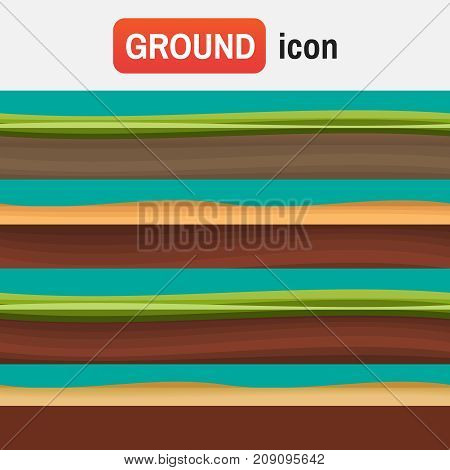 Soil Ground Vector. Different Grounds, Soils And Land Set For Soil Ui Games