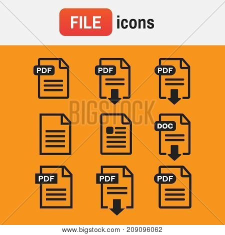 Icon Pdf Document. File Download Icon. Document Text, Symbol Web Format Information