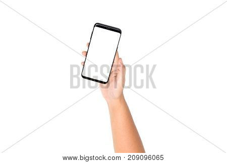 Hand Holding Cell Phone On Top View With Blank On White Screen And White Background , Clipping Path