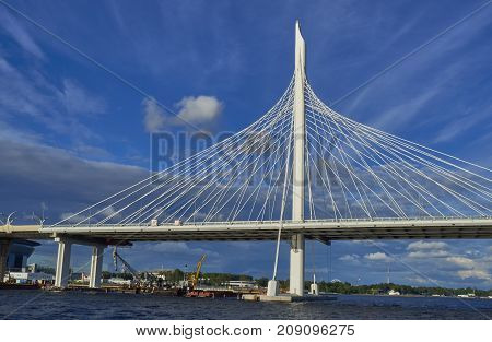 View of the cable bridge over the Neva River