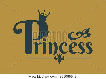 Vintage queen silhouette. Medieval queen profile. Elegant outline silhouette of a female head. Fashion shop or hair saloon emblem design. Royal emblem with P letter and princess word