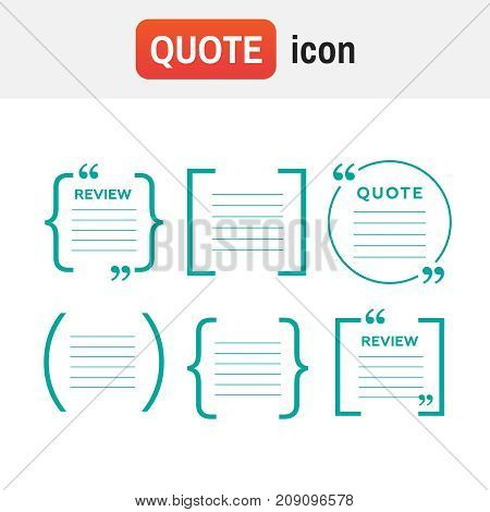 Quote Icons. Quotes And Brackets Speech Bubbles