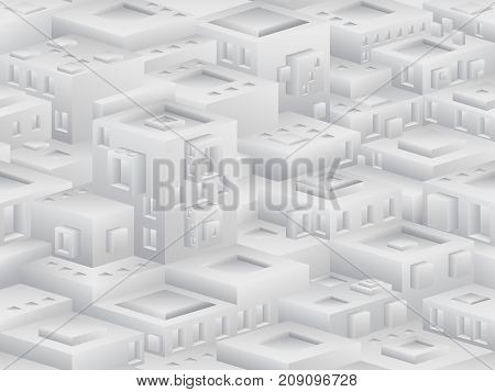 Isometric Seamless Pattern In The Style Of Cubism