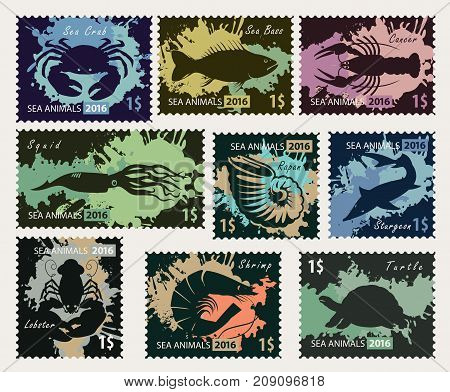 Vector set of postage stamps on the theme of underwater sea animals. Black silhouettes of different sea animals on the colored blobs background.
