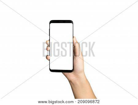 Hand Holding Smart Phone Blank On White Screen And White Background