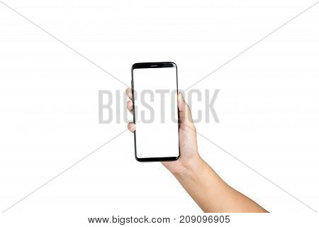 Hand Holding Show Cell Phone Blank On White Screen And White Background