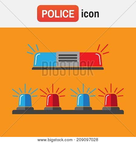 Police Siren Flasher. Siren Set. Police Flasher Or Ambulance Flasher Icons