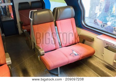 Emtpy Interior Of An Old Dutch Train