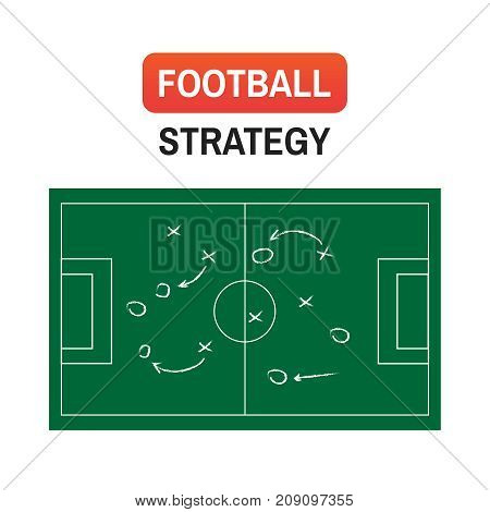 Vector Strategy Football. Football Or Soccer Game Strategy Plan Isolated On Blackboard Texture With