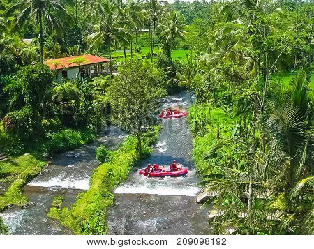 Rafting in the canyon on Balis mountain river Ayung at Ubud, Bali, Indonesia