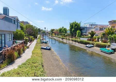 Venice canals in Los Angeles, United States.