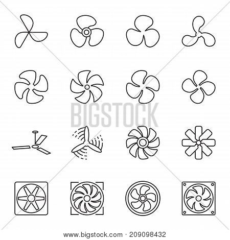 Fan icons. Collection of 16 linear line symbols isolated on a white background. Vector illustration. Editable stroke