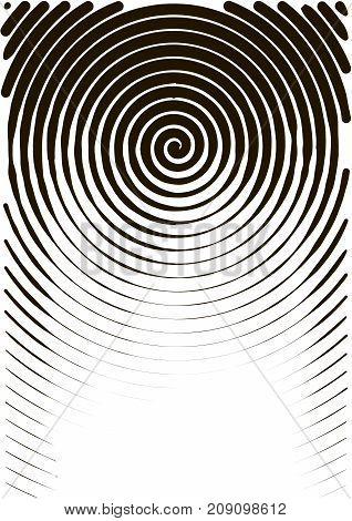 Minimalistic Design. Halfton Spiral Cover A4 Format. Halftone Vector Concentric Squares, Spiral Line
