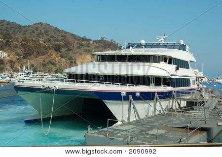 Ferry to Catalina island in the harbor of Avalon California poster