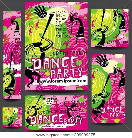 Set of Party or festival Poster vector Template